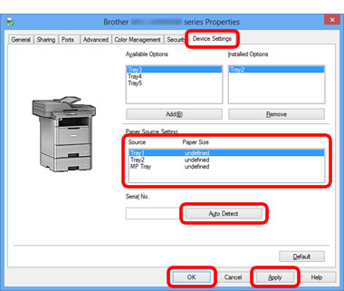 Configure the printer driver to work with the lower tray