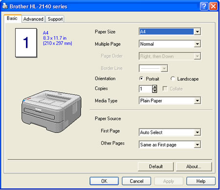 how to change brother printer preferences language