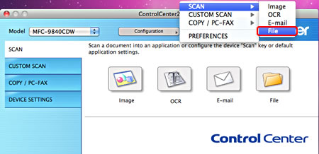 Locate files scanned with ControlCenter2 (For Macintosh