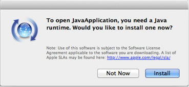 The message to install the Java runtime appeared and I
