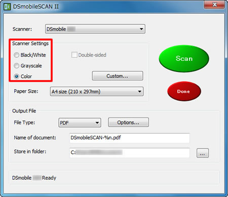 dsmobilescan ii software
