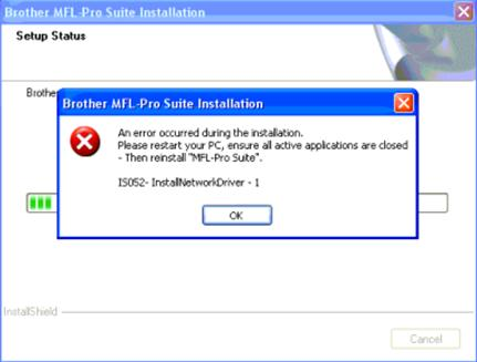 IS052-InstallNetworkDriver error message