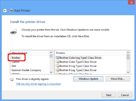 Add Printer - Install the printer driver