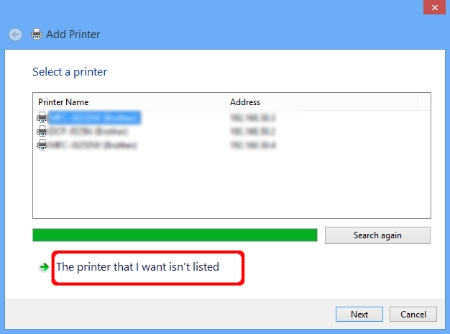 Add Printer - The printer that I want isn't listed