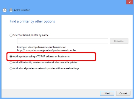 Add Printer - Add a printer using a TCP/IP address or hostname