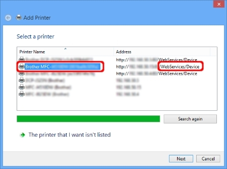Add Printer - Select a printer