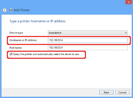 Add Printer - Hostname or IP address