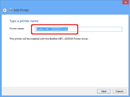 Add Printer - Printer name