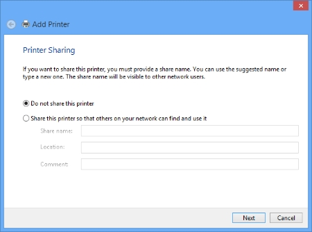Add Printer - Printer Sharing