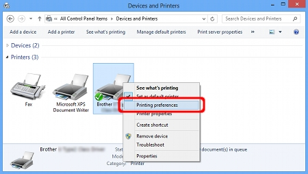 I cannot find some option in the Printing preferences  (For