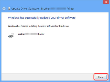 The installation of the Brother original printer driver is complete. Click Close.