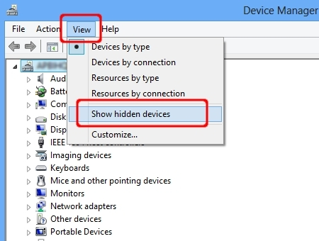 Choose View => Show Hidden devices.