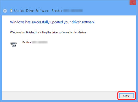 The installation of the Brother original scanner driver is complete. Click Close.