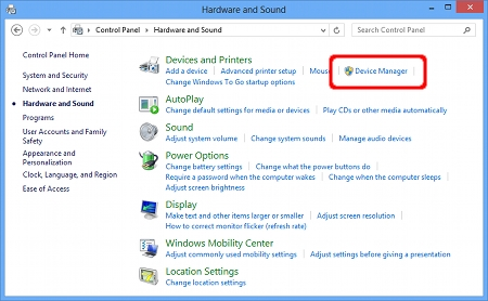 Click Hardware and Sound => Device Manager.