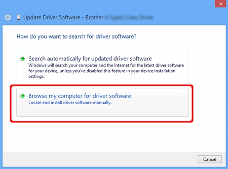 "Click ""Browse my computer for driver software""."