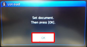 Place the document you want to scan in the ADF or on the flatbed scanner, and then choose OK.