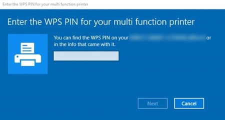 Screen requesting a WPS PIN to complete the setup