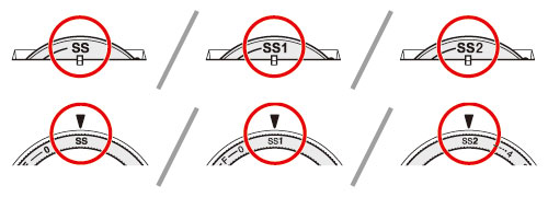 Set the stitch length dial to the mark [SS], [SS1] or [SS2].