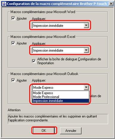 J 39 utilise p touch editor 5 0 pour windows que puis je for Imprimer depuis outlook