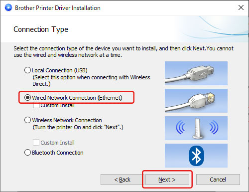 How Do I Connect The Printer To My Computer Via Wired Lan Ethernet For Windows Brother